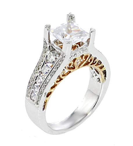- 18K Engagement Ring Setting Semi Mount Fits 2ct Princess Cut Solitaire 1.00ctw Side Diamonds Two Tone