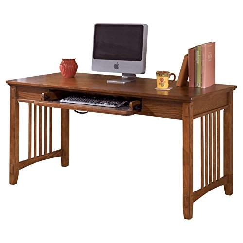 Ashley Furniture Signature Design - Cross Island Large Office Desk - Drop-Down Keyboard Tray - Casual - Medium Brown Finish (Finish Oak Mission Stained)