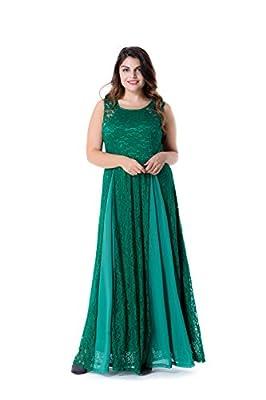 ESPRLIA Women's Plus Size Lace Sleeveless Evening Party Formal Maxi Dress
