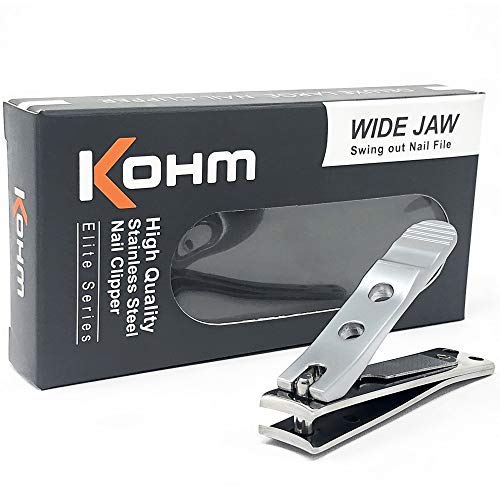 (Kohm WHS-440L Heavy Duty, Curved Blade, Wide Jaw Toenail Clippers for Thick Nails, Large Nail Clippers for Men, Seniors, Women, Nail Clipper with File )