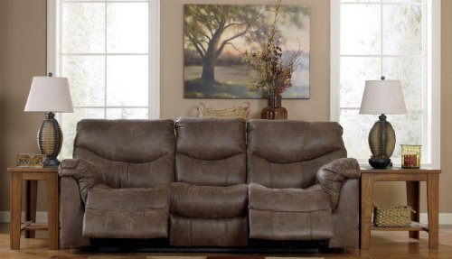 Ashley Furniture Signature Design - Alzena Recliner Sofa - 1 Touch Powered Reclining - Contemporary - Gunsmoke by Signature Design by Ashley