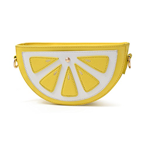 Purse Bag Women��s Lemon Bag Kuang Shoulder Fruit PU Chain Cross Shape Cute body RxWTHPOq