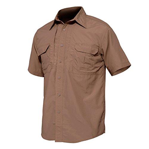 TACVASEN Nylon Wrinkle-Resistant Breathable Short Sleeve Shirt for Climbing Hiking ()
