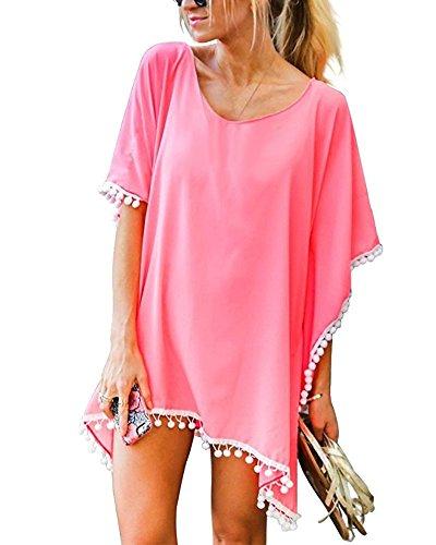 GDKEY Women's Trim Kaftan Chiffon Swimsuit Bikini Beach Cover up(Pink,B)