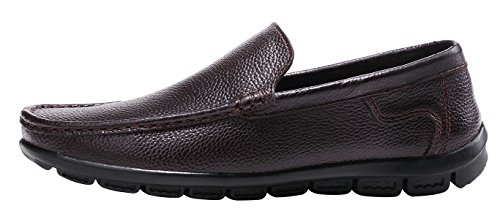 Shoes Leather Driving Brown Premium Casual Loafers on Genuine Breathable Dark Men's Shoes Walking Slip LOUECHY tHqwzpgx