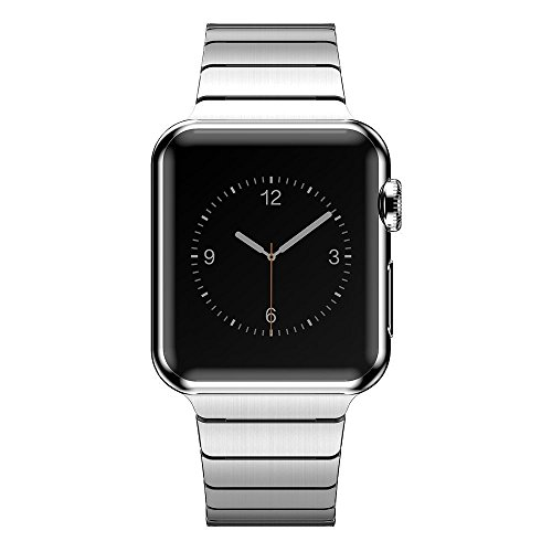 Distinctive Series - Surace Solid Stainless Steel Link Bracelet with Durable Folding Metal Clasp Compatible for Apple Watch 42mm Series 3 Series 2 Series 1 Sport and Edition (Sliver)