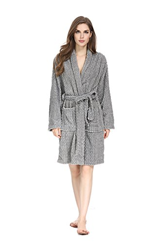 Herringbone Petite Belt - Women Fleece Robe Super Soft Plush Long Bathrobe Lightweight Comfy Warm Cozy Sleepwear