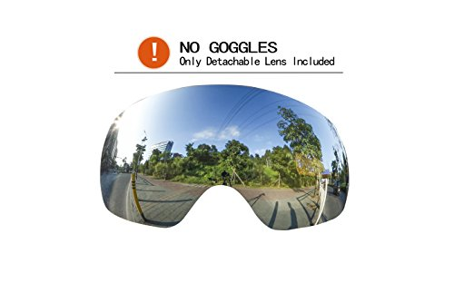 Ski Goggles Replacement Lens, 100% UV400 Protection Anti-fog Spherical Frameless Goggles...