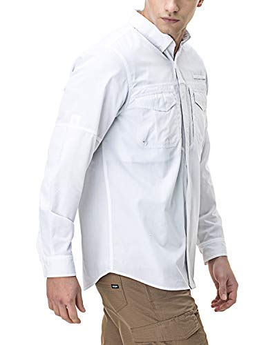 CQR Men's Outdoor PFG UPF 50+ Long-Sleeve Breathable Shirt, Long Sleeve(tos421) - White, ()