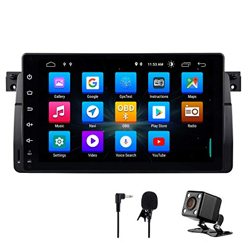 NVGOTEV Android 9.0 Car Stereo Headunit Fits for BMW E46 Radio 9 Inch HD Touch Screen GPS Navigation with Bluetooth WiFi Steering Wheel Control 2GB+32GB