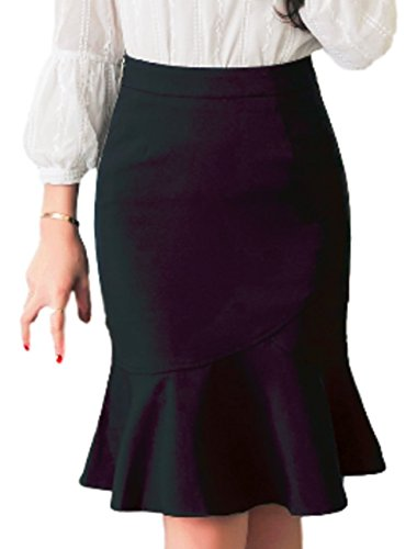 Belted Tweed Skirt - Goodhoop Women's Above The Knee Pencil Skirt (Large, Black) Ruched wrap Evening Corduroy Satin Cute Straight Maxi Tweed Blush Belted Dark Dressy Modest Classic Circle Colorful Tulle Crinkle