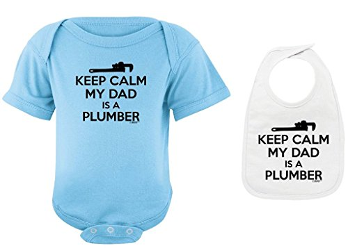 (Baby Clothes Keep Calm My Dad is a Plumber Light Blue Bodysuit White Bib Bundle Newborn)