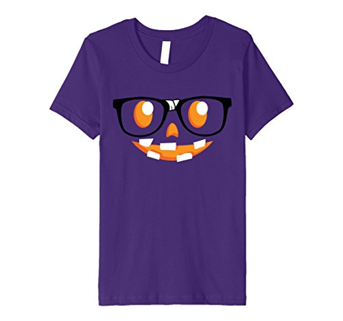 Nerdy Girl Halloween Costume Ideas (Kids Spooky Funny Halloween Gift Tees | Nerdy Pumpkin Face 4 Purple)