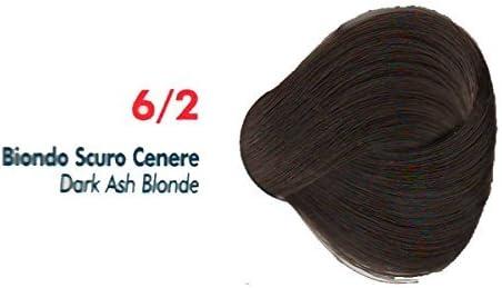 Tinte de Pelo Profesional Rubio Oscuro Ceniza Ceniza con Amoníaco 6/2 Permanente 100ml Made in Italy