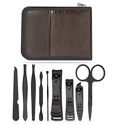 Ziba Beauty Care - Complete Manicure Pedicure Nail Set - Stainless Steel Fingernail and Toenail Clipper - Grooming Kit For Men and Women - Travel Case 10 Pieces