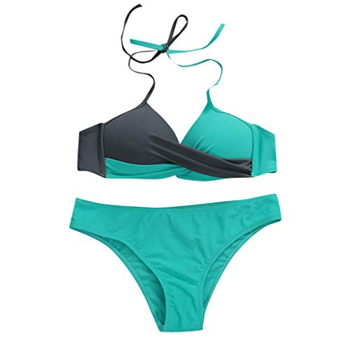 Womens Bathing Suits Color Block Swim Bottoms Padded Halter Bandage Bikini Two Piece Swimsuits Mint Green - Dot Sapphire