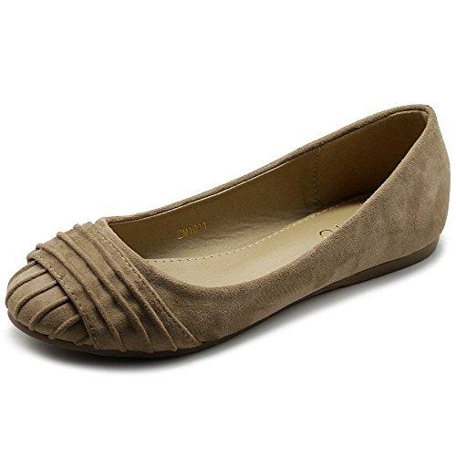 Ollio Women's Shoes Faux Suede Pleated Muliti Color Comforts Ballet Flat NEW1011 (9 B(M) US, Beige)