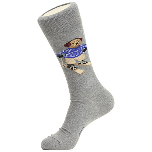 Polo Ralph Lauren Men's Ski Polo Bear Solid Casual Dress Sock, Grey - Lauren Ralph Models Male