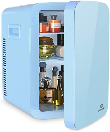 Portable Mini Fridge, MOOSOO 15Liter Beauty Fridge for Skin Care, Cosmetics, Facial Tools, Serums and Masks Storage, Skincare Fridge, Compact Cooler Warmer with AC/DC Power, for Home & Car, Constant Temperature