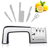 RIVERSONG Knife and Scissor Sharpener, 4-in-1 Professional Kitchen Knife Sharpening System with Tungsten Diamond,for Steel and Ceramic Knives in All Sizes,Silver Stainless Steel Knife Sharpeners (Silver)