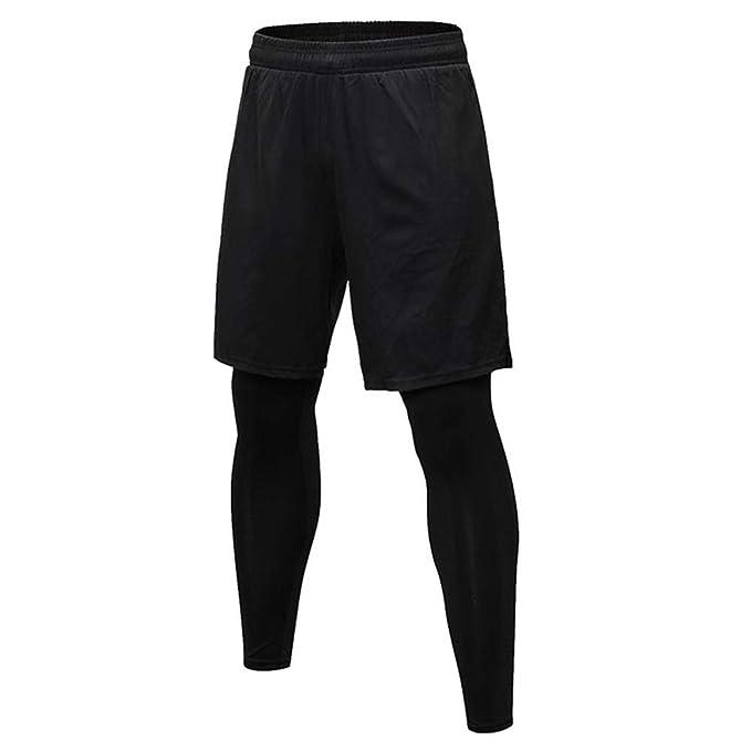 6c14a8f3061 LFEU Black Skinny Running Pants Fake 2 Piece Men Basketball Running Pants  Training Gym Elastic Jogging Trousers  Amazon.co.uk  Clothing