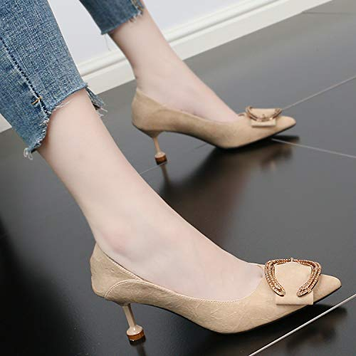Beige Sexy shoes Shoes Simple Cat Buckle Fine High Single Belt Women Shallow women's Sharp With GTVERNH Shoes 7Cm Fashion Summer Heel And Fashion 1wP1EBq
