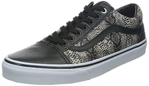 208f194d0f Vans Unisex (Premium Leder) Old Skool Black Skate Schuhe (Schlange)  Schwarzkhaki