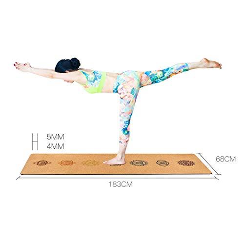 Jingolden Natural Rubber Yoga Mat, Gym Pilates Cork Yoga Blanket, 5MM Anti-Slip Sports Mats, for Fitness/Dance, 183 X 68CM