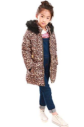 J&E LOHAS Little Girls Winter Coats Waterproof Cheetah Quilted Fleece Lining Jackets with Faux Fur Trim