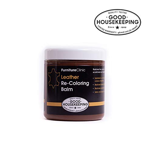 Furniture Clinic Leather Recoloring Balm – Renew, Restore & Repair Color to Faded and Scratched Leather | 21 Color Choices, Works on Couches, Car Seats, Clothing & Purses - 8.5 Fl. Oz (Dark Brown)