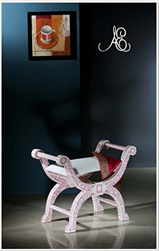 Ace Craftique Wooden Handmade Bone Inlay Beautifully Roman Design Stool For Home Décor - Pink ()