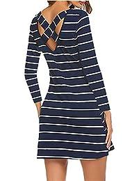 YANDW Women Long Sleeve T Shirt Dress Pocket Casual Striped Outfit Junior Tunic