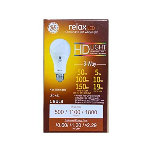 (GE Relax LED 3 Way Energy Saving Lightbulb, 50w/100w/150w, 1 Count)