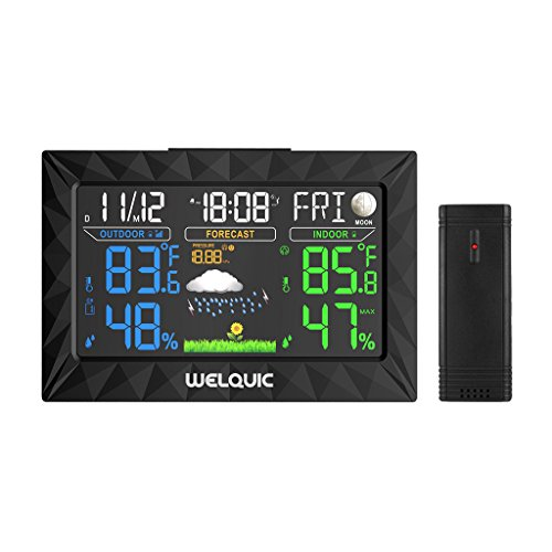 WELQUIC Digital Wireless Weather Station with Large LCD Color Display, Outdoor Sensor, Snooze Alarm, Barometer for Weather Forecast, Temperature Humidity Measure (Hpa Lcd)