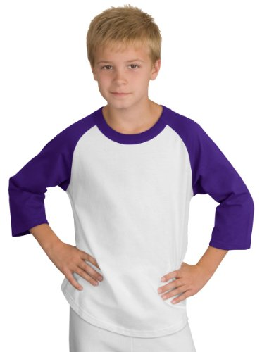 Sport-Tek Youth Colorblock Raglan Jersey, White/Purple, S