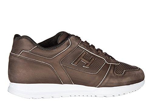 Hogan zapatos zapatillas de deporte hombres en piel nuevo h321 marrón