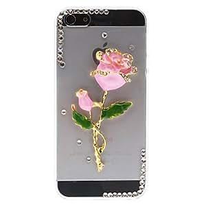 Diamond Look Unique 3D Rose Pattern Transparent PC Hard Case for iPhone 4/4S