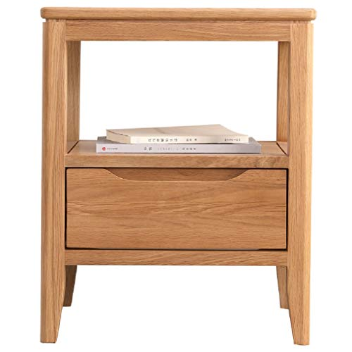 WAHE Solid Wood Bedside Table White Oak Bedroom 450 410 550MM