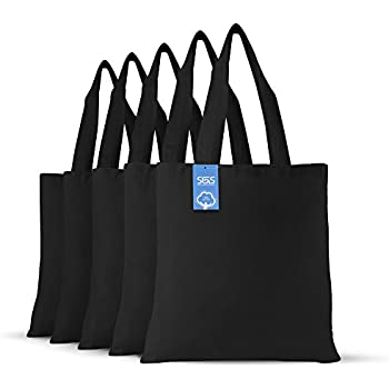 be4bd9c153ab Simply Green Solutions Blank 100% Cotton Fabric Reusable Cloth Bags - Set of  5 - Tote Bags for School