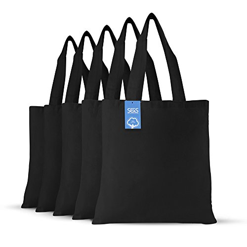 - Simply Green Solutions Blank 100% Cotton Fabric Reusable Cloth Bags - Set of 5 - Tote Bags for School, Tote Bags for Grocery Shopping, Fun Promotional Items or Eco-Friendly Reusable Bags