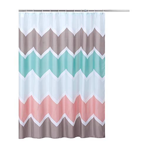 Rama Rose Shower Curtain Wave with Hooks for Bathroom, Treated to Resist Deterioration by Mildew – 70X72 inches, Mint Green/Pink/Violet Color