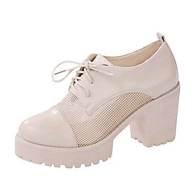Zormey Tacones Mujer Primavera Otoño Zapatos Club Comfort Mesh Respirar Libremente Brida Oficina &Amp; Carrera Chunky Talón Lace-Up Vestir Casual US8 / EU39 / UK6 / CN39