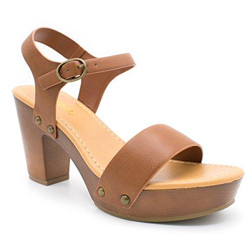 dbf561d0b4551 Soda Women's Bold Buckles Studded Wedge Sandal