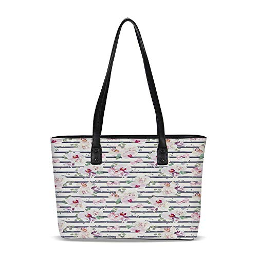 Navy and Blush PU Shoulder Tote Bag,Spring Bouquets on Stripes Orchid Peony Bel