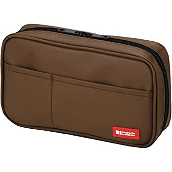 LIHIT LAB Pen Case, 7.9 x 2 x 4.7 inches, Brown (A7551-9)