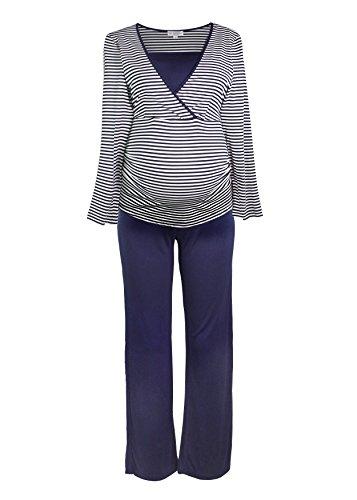 Komfortabler Stillpyjama-Stillnachthemd für Schwangere in Lang oder Kurz für Damen in Blau, Grau, Rosa (2000) / Weiß Blau, M