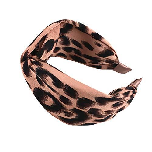 BUKEZH Women's Leopard Hairband Casual Hair Head Hoop Fashion Bow Knot Headband (Pink)