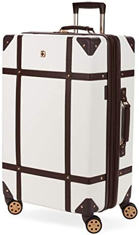 SWISSGEAR 7739 Trunk, Hardside Spinner Luggage, Large Checked Suitcase - White