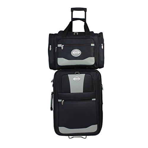 - TRANSWORLD 2-Piece Expandable Wheeled Carry-on Luggage Set, Black