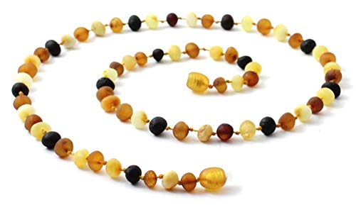 Mix Bead Long Necklace - Raw Baltic Amber Adult Necklace - 19.5 Inches Long - Unpolished Multicolor Beads - TipTopEco (Mix, 19.5 inches)